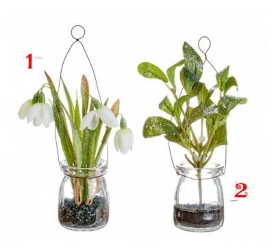 Snowdrop Mistletoe In Glass Vase