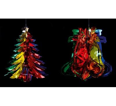30cm Foil Bell Tree Mutli Coloured