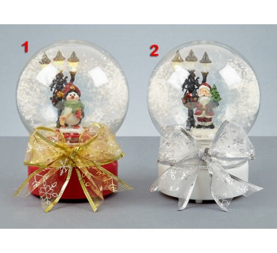 19cm Illuminated Musical Snow Globe with Swirling Snow 2 Designs