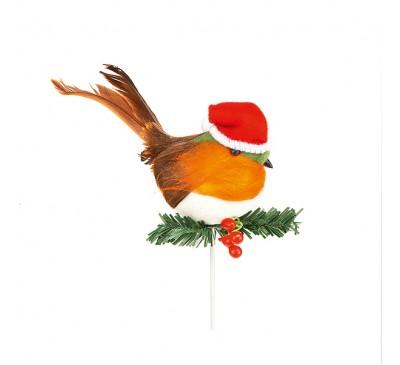 10cm Robin With Santa Hat Pick