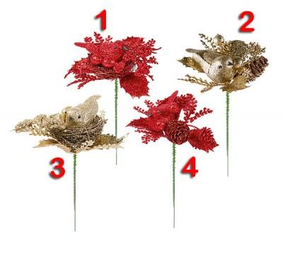 17cm Glitter Robin Pick Red / Gold