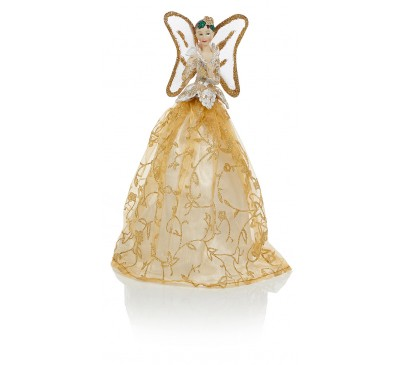 25cm Tree Top Fairy with Dove - Champagne Gold