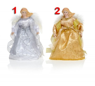 20cm 2 Assorted Tree Top Angel Gold / Silver