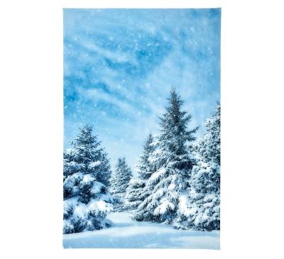 210x145cm Snowy Christmas Tree Backdrop