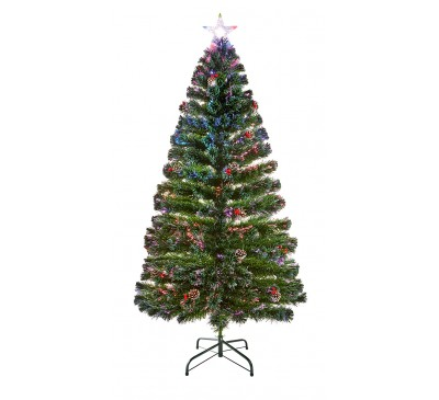 1.8m Fibre Optic Christmas Tree with Pine Cones and  Berries with Tree Top