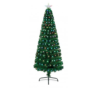 1.8M Fibre Optic  Tree With Colour Change Ball Decorations