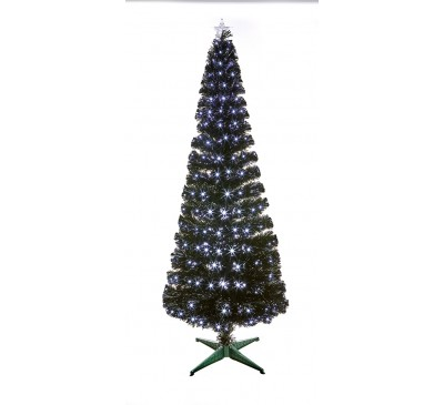 1.8m Black Slim Christmas Tree with White LEDs