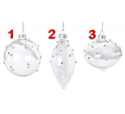 3 Assorted 80-110mm Clear White Glass Ball with Crystals