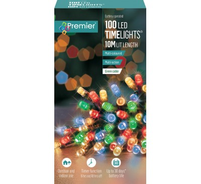100 Multi Action Battery Operated Multi-colour LED Lights with Timer