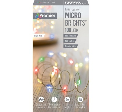 100 Battery Operated Multi Action  MicroBrights Multi Coloured with Timer