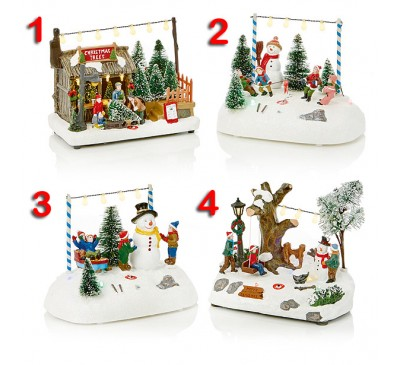 4 Assorted Battery Operated illuminated Winter Scenes