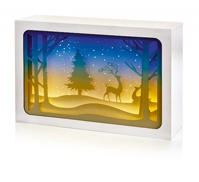 21x14cm Paper Diorama with Reindeer Scene - 4 LEDs