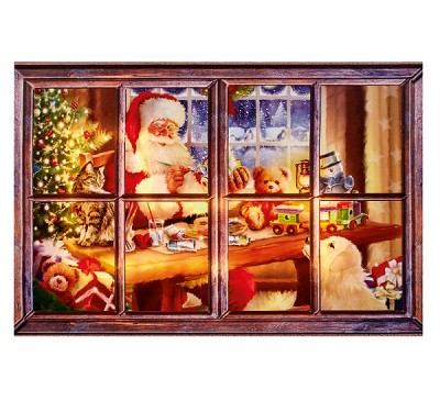 90x60cm Outdoor Santa Working Soft Glow Canvas with Timer