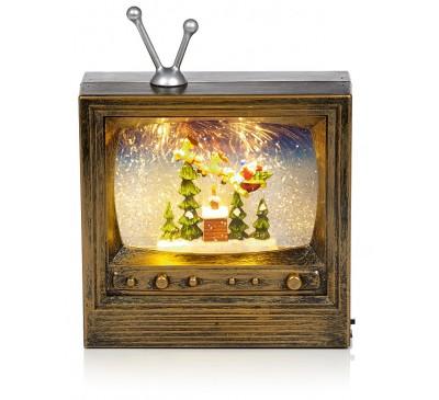 22cm TV Water Spinner with Santa Sleigh Scene