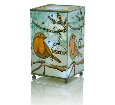 16cm Battery Operated  Glass Lamp with Robin Scene