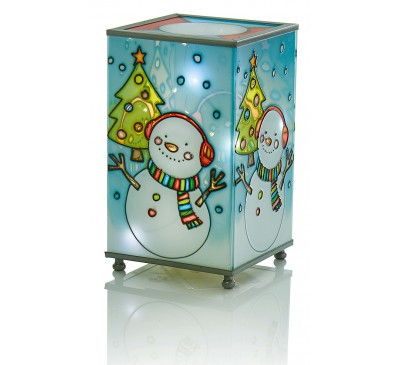 16cm Battery Operated  Glass Lamp with Snowman Scene
