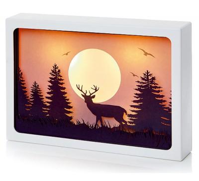 30x21cm Diorama Reindeer Scene