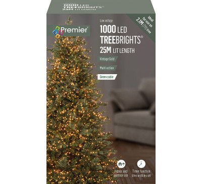 1000 Multi Action LED TreeBrights with Timer and Vintage Gold Lights