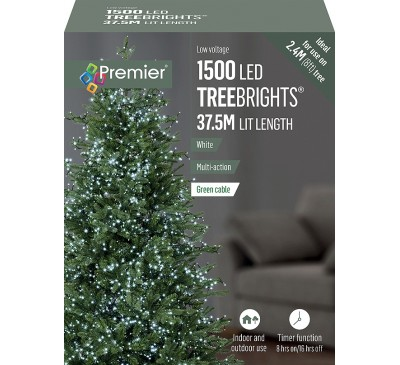 1500 Multi Action White Led TreeBrights with Timer