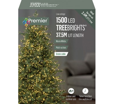 1500 Multi Action Warm White Led TreeBrights with Timer