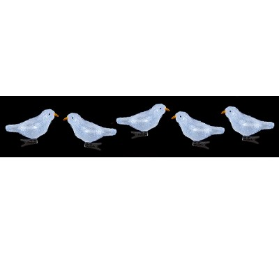 16cm Acrylic Birds with Clip & 30 Warm White LED's