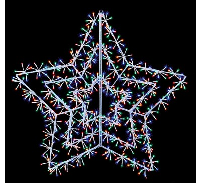 1.2m White Starburst Cluster with 720 Multi Coloured LED's
