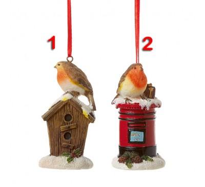 9cm Robin on Post Box Bird House 2  Designs