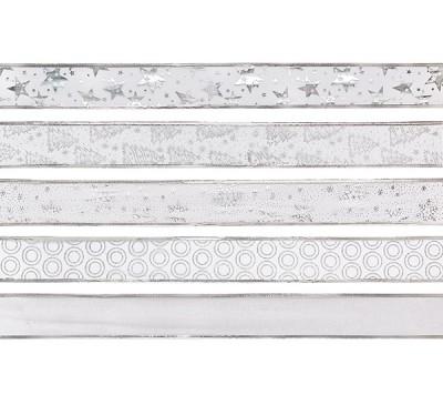 White and Silver Ribbon 5 Designs