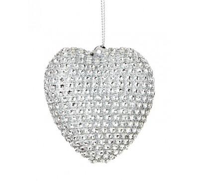 Silver Diamante Heart