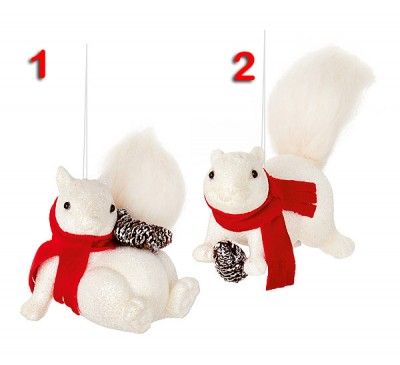 8cm 2 Assorted White Glitter and Felt Tail Squirrels