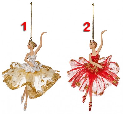 2 Assorted 18cm Hanging Ballerina with Gold Dress