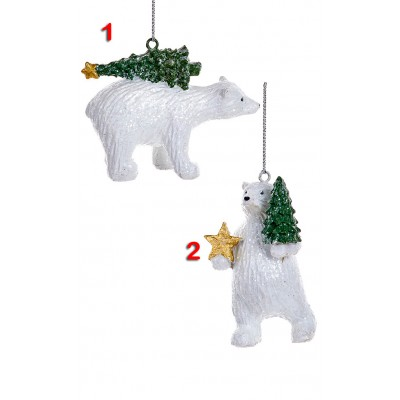7x5cm 2 Assorted White Polar Bear with Glitter trim