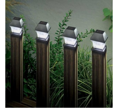 Solar Post Light Black 4 pack 3L