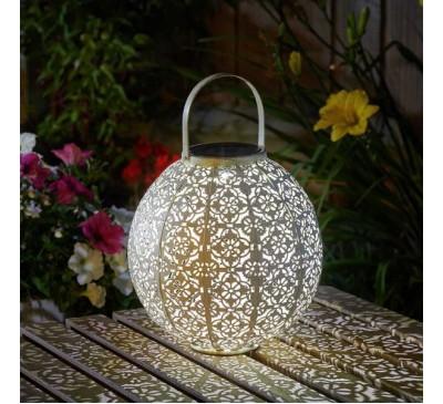 Damasque Solar Lantern - Cream