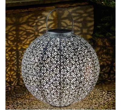 Damasque Solar Jumbo Lantern  - Silver