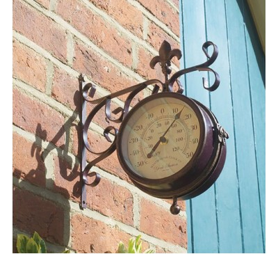 York Station Clock & Thermometer Double Sided Bronze