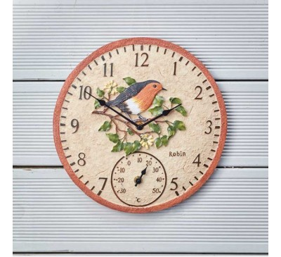 Robin Wall Clock & Thermometer 12 inch