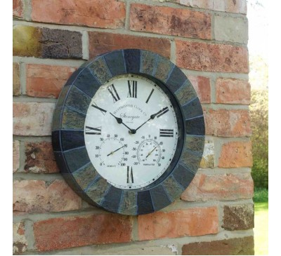 Stonegate Wall Clock and Thermometer Granite 14 inch