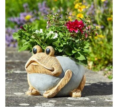 Woodstone Frog Planter