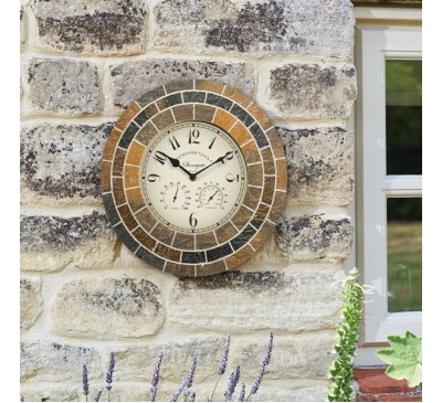 Stonegate Mosaic Wall Clock & Thermometer 14 inch