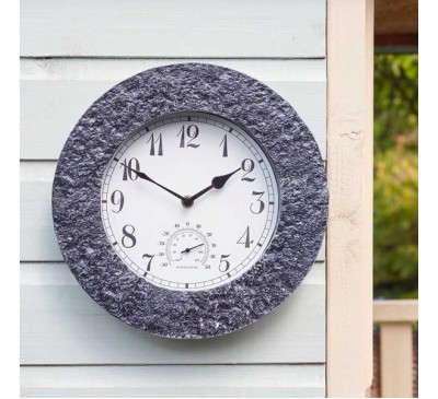 Stonegate Wall Clock & Thermometer Granite 12 inch