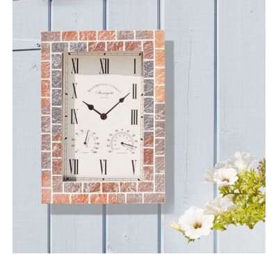 Stonegate Quad Wall Clock & Thermometer 15 inch