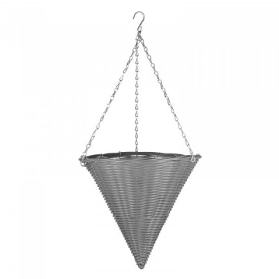 14 inch Slate Faux Rattan Hanging Cone