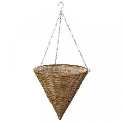 14 inch Milano Faux Rattan Hanging Cone