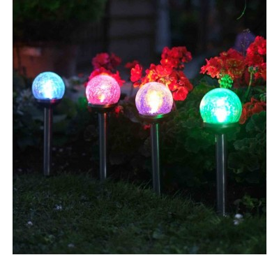 Smart Solar Crackle Globe Stake Lights Value 5pk