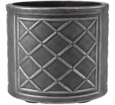 32cm Round Lead Effect Planter Pewter