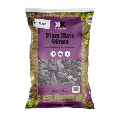 Plum Slate 40mm 2 Bags for £10 - 25kg Bag (approx)