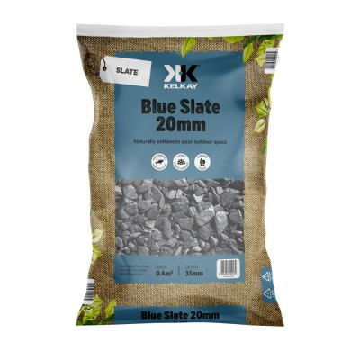 Blue Slate 20mm 2 For £10 - 25kg Bag (approx)