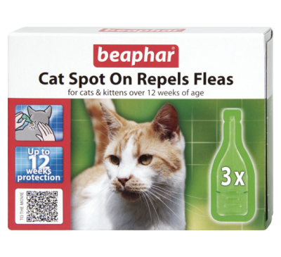 Beaphar Cat Spot On 12 Week Flea Repellent (3x Pipettes)