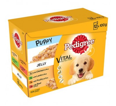 PEDIGREE® Puppy Pouches Meat Selection in Jelly 12x100g